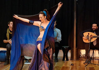 Areena Belly Dancer, blue veil Santa Fe Hafla.jpg