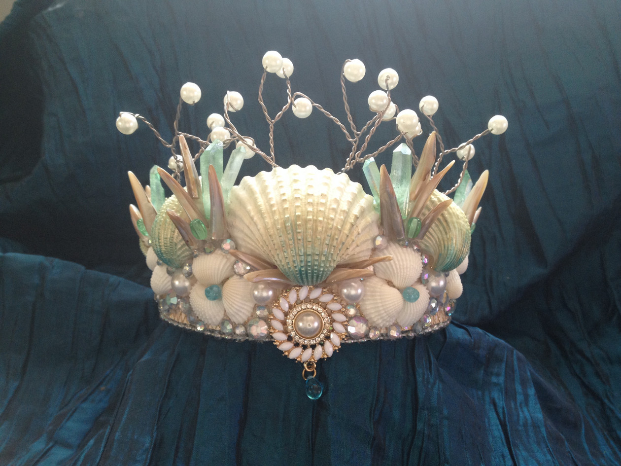 Dreaming Olypsis Seafoam Crystal Seashell Mermaid Crown Tiara