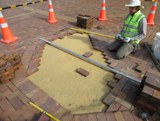 Leveling up and making good to subsiding brick paving, Dunedin Octagon.