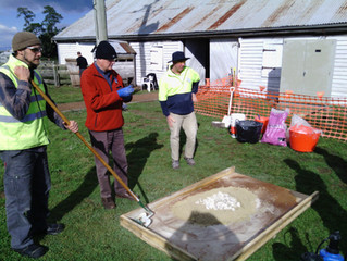 At the Longford Academy, Tasmania, with mortar expert David Young.