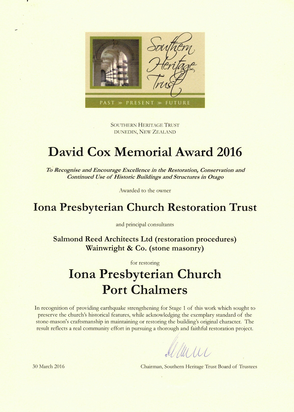 Restoration work to the historic Port Chalmers church