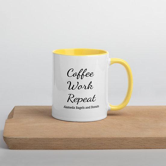 Mug with Color Inside : coffee work repeat