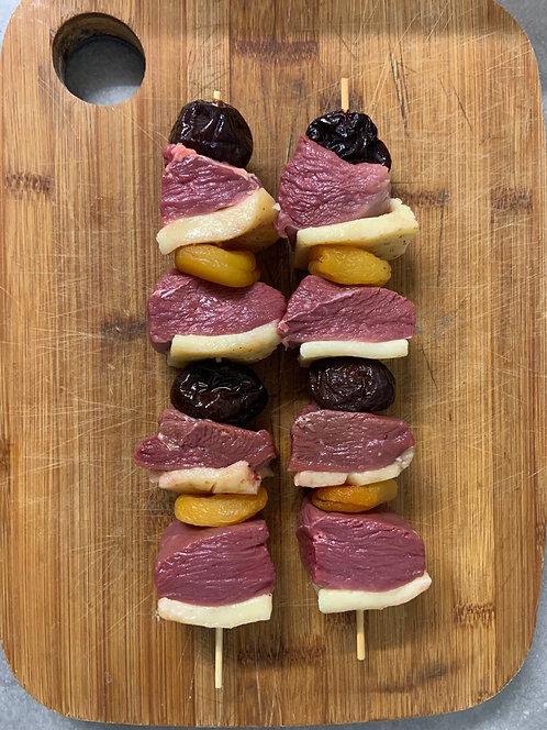 Brochettes de magret aux fruits (19,90€ kg)