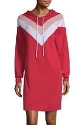 Long Sleeve Sweatshirt Dress - Red_edite