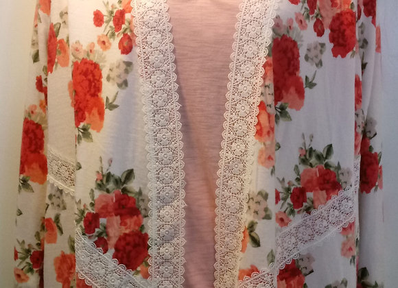 Floral Print with Lace Shrug (XL)
