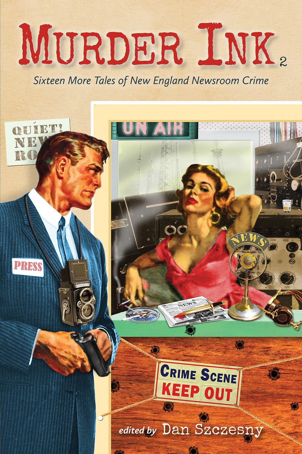 pulp fiction-style handsome reporter and blonde bombshell