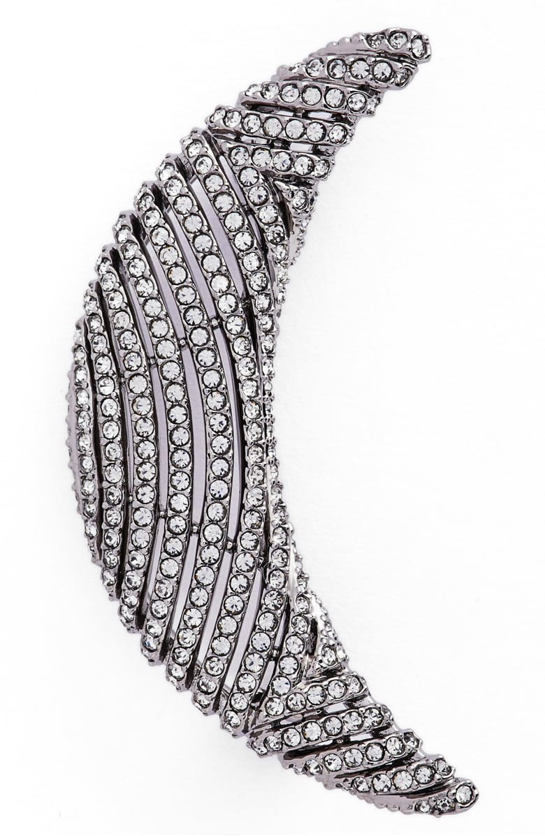 Pavé Crescent Pin,                         Main,                         color, Black