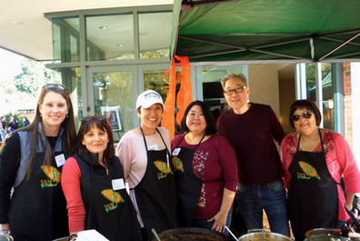 Some of the volunteers who helped pass out food