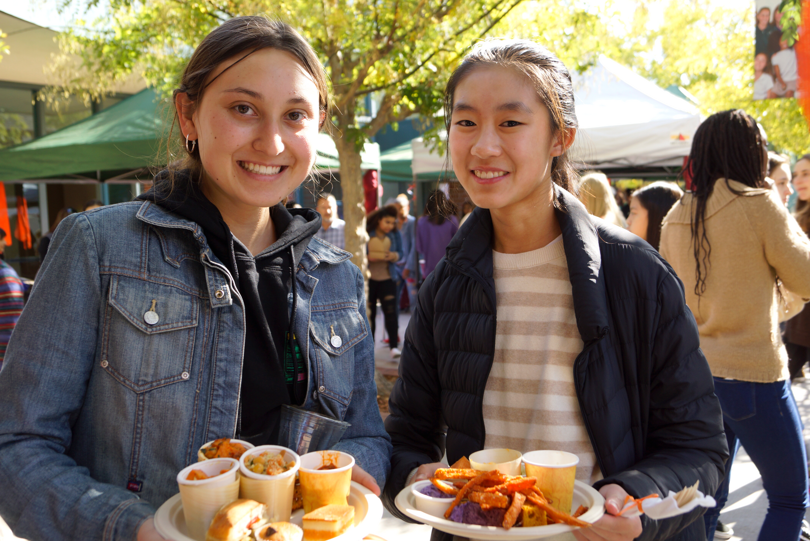 Ava F. '21, and Katrina W. '21 in line to get their yam fries