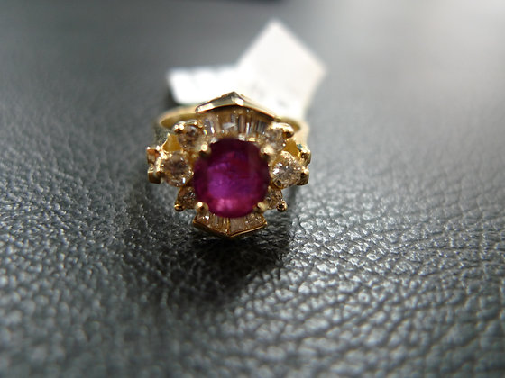 RUBY 1.12CT 14K GOLD RING SIZE 4.5