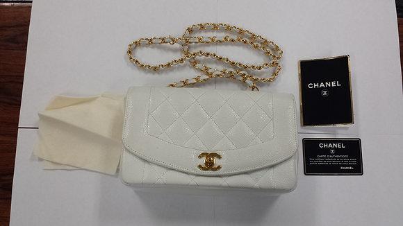 chanel caviar classic small  white flap