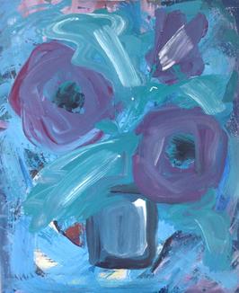 FLOWERS ON BLUE
