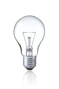 Light bulb isolated on white,  Realistic