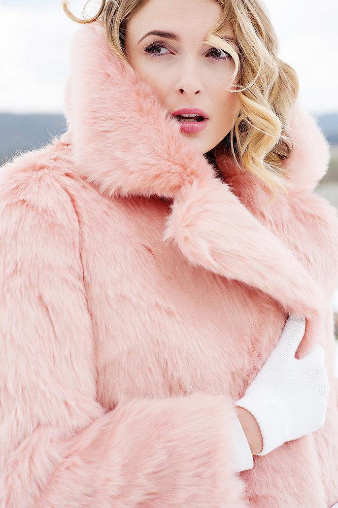 commercial photographer fabulous furs faux pink coat