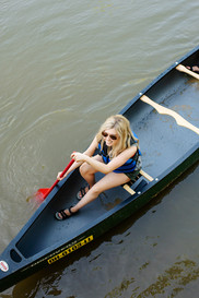 girl on canoe hocking hills backpacking photoshoot commercial photography luxottica brand