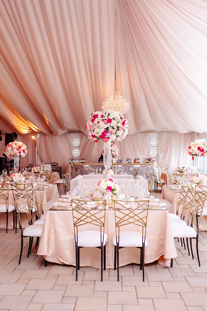 pink tented luxury wedding photography greenacres tall white flowers chandelier