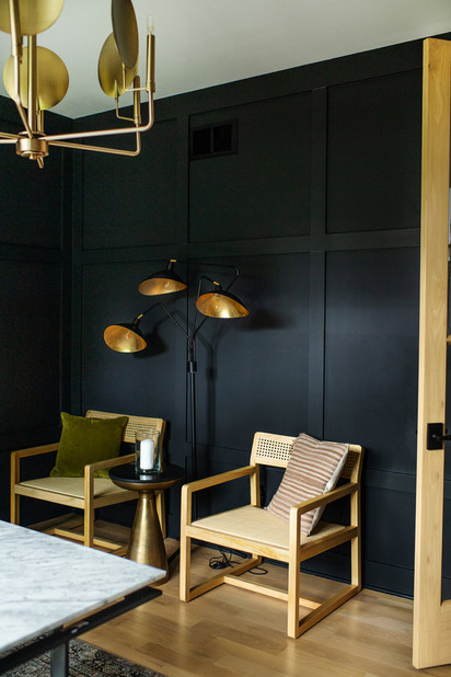 black wood accent wall office