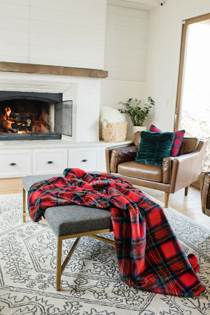 cozy holiday fireplace plaid blanket