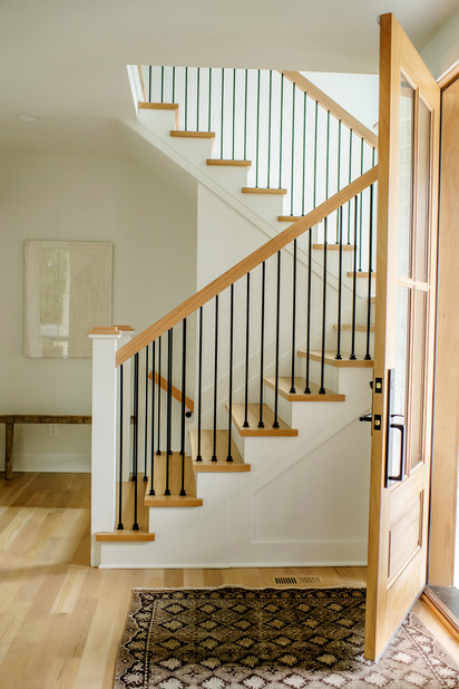 natural wood and white light staircase