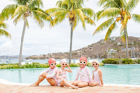 luxury clothing brand photography on the beach st martin kids bathing suits