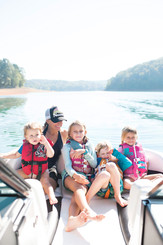 family on mastercraft in lake norris for brand photography commercial cincinnati