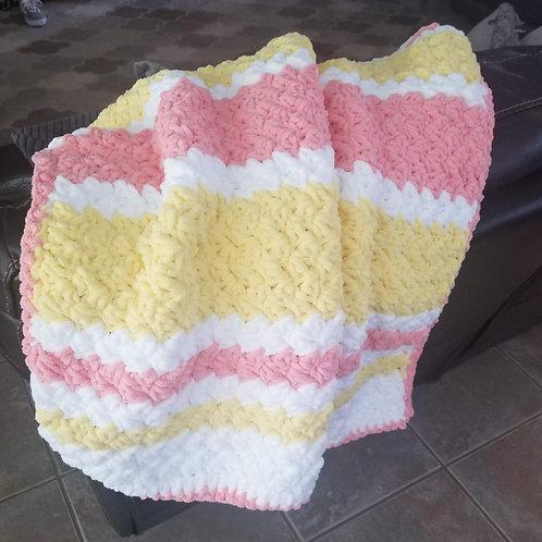 Handmade Beautiful Super-Soft Crochet Sunshine Baby Blanket - Coral/Yellow/White
