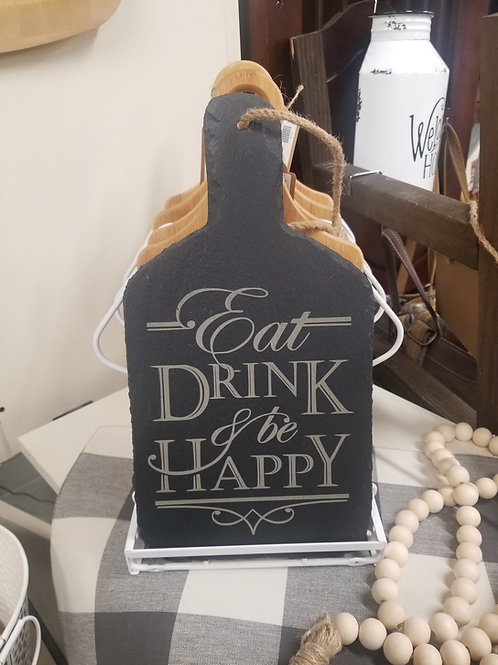 Custom Engraved Slate Paddle Style Cutting Board w/Hanger, EAT, DRINK & BE HAPPY
