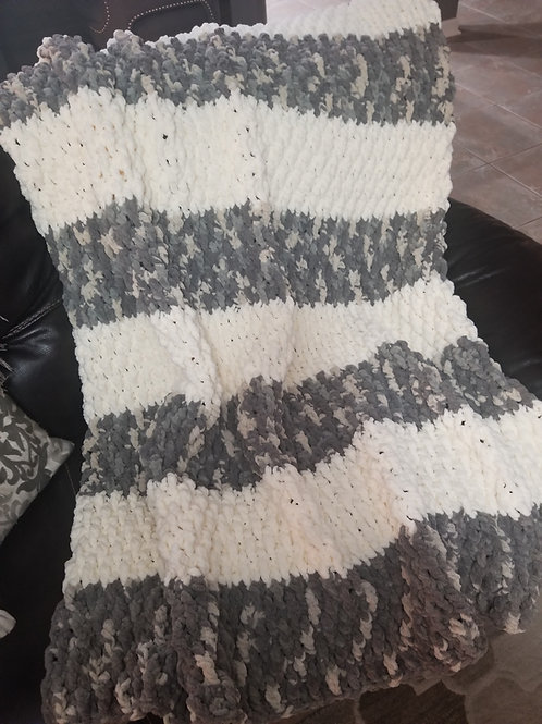 Handmade Stripped Crochet Blanket - Antique White/Silver Steel