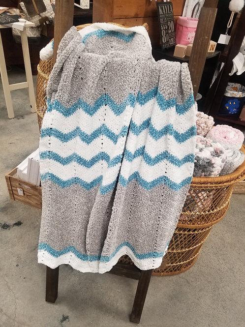 Handmade Beautiful Super-Soft Crochet Chevron Baby Blanket - Blue/Gray/White