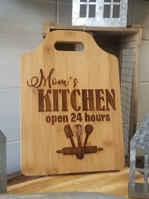 Custom Engaved Bamboo with Handle Cutting Board MOM's KITCHEN OPEN 24HRS