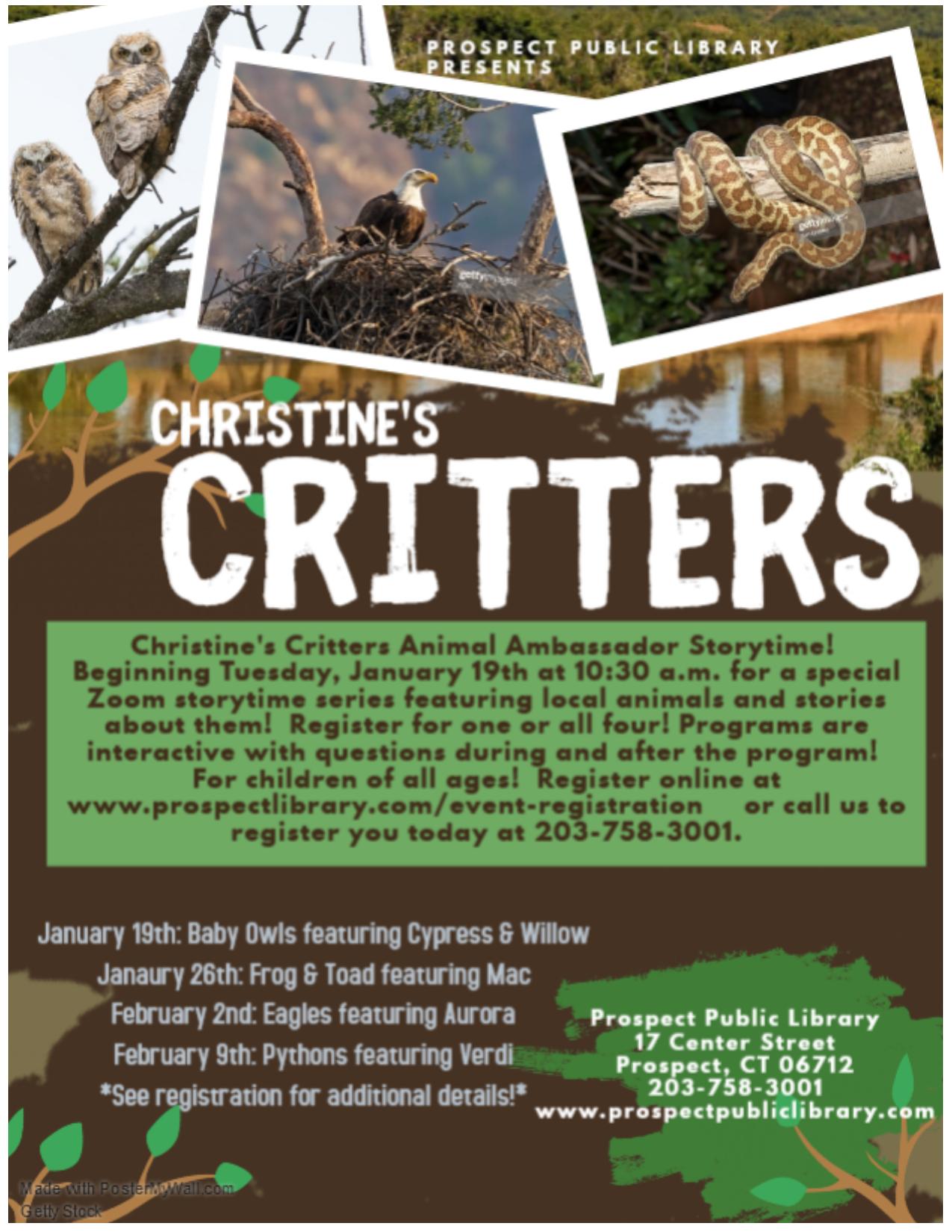Flyer-Christine's Critters Storytime Ser