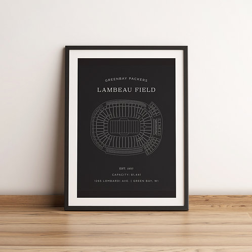 Lambeau Field Print - Grey