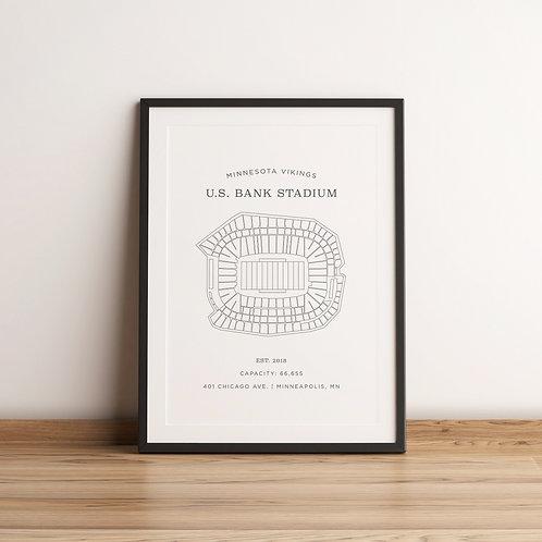 US Bank Stadium Print - White