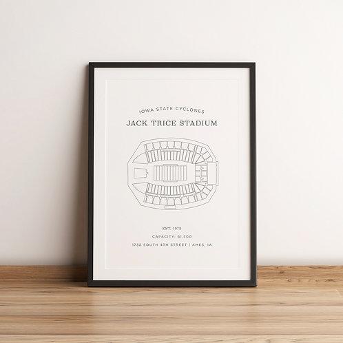 Jack Trice Stadium Print - White