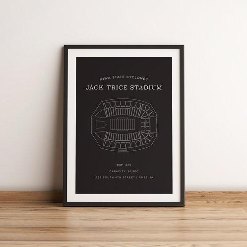 Jack Trice Stadium Print - Grey