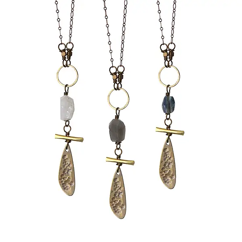 Nori   Labradorite, Moonstone or Kyanite with Brass