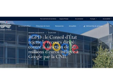 Recours de Google contre la sanction infligée par la CNIL rejeté par le Conseil d'État