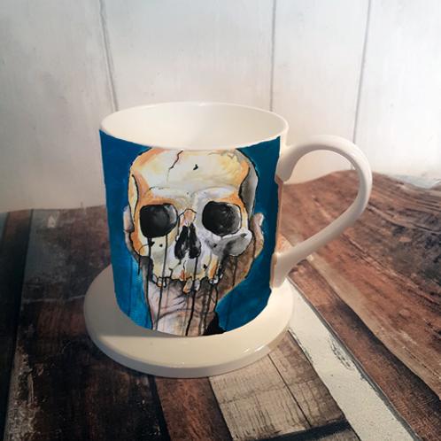 Blue Skull Bone China Mug & Coaster Set