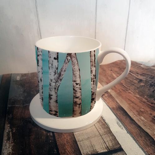Trees Bone China Mug & Coaster Set