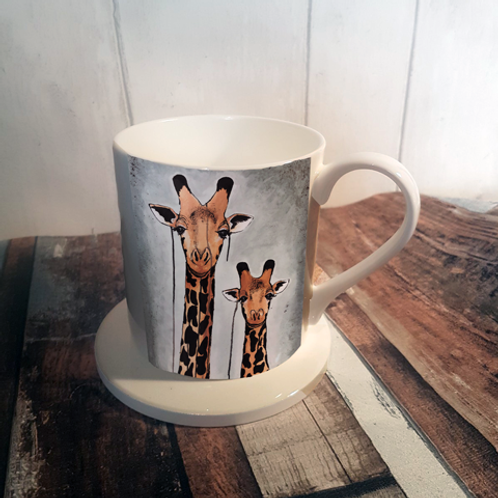 Giraffes Bone China Mug & Coaster Set