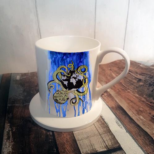 The World Needs a Hug Bone China Mug & Coaster Set