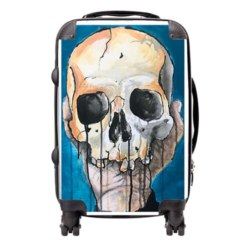 Blue Skull Suitcase  / Cabin Bag