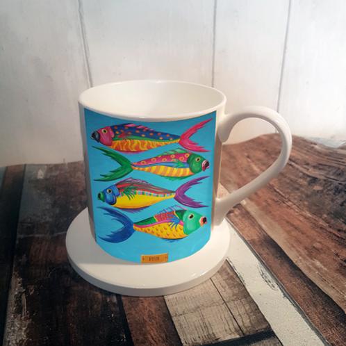 Fish Bone China Mug & Coaster Set