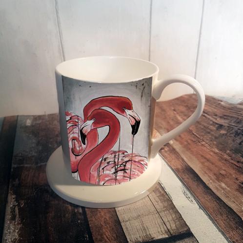 Flamingos Bone China Mug & Coaster Set