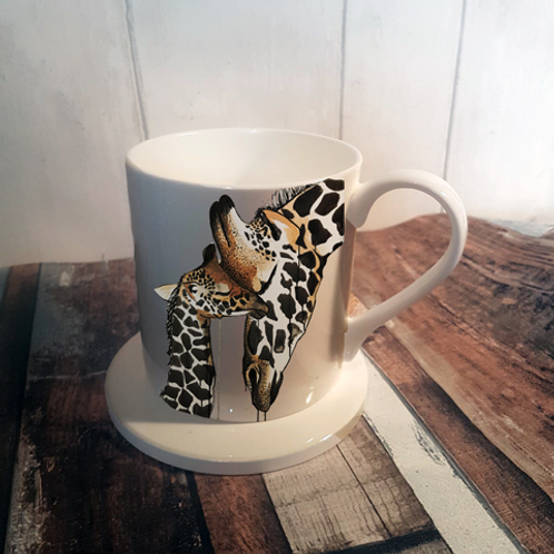 Giraffe Love Bone China Mug & Coaster Set