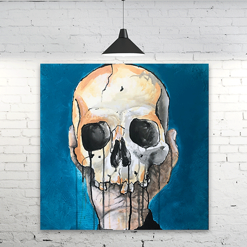 Blue Skull Fleece Blanket