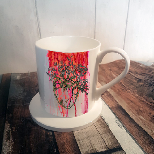 Love Fiercely Bone China Mug & Coaster Set