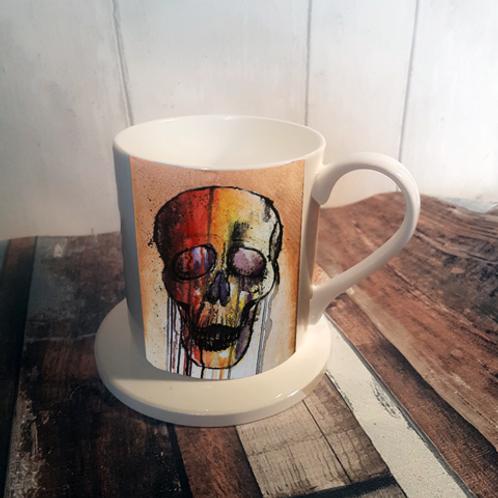 Colourful Skull Bone China Mug & Coaster Set