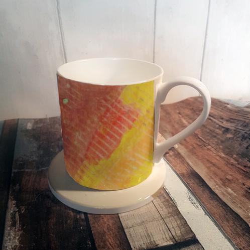 Linear Reds Bone China Mug & Coaster Set