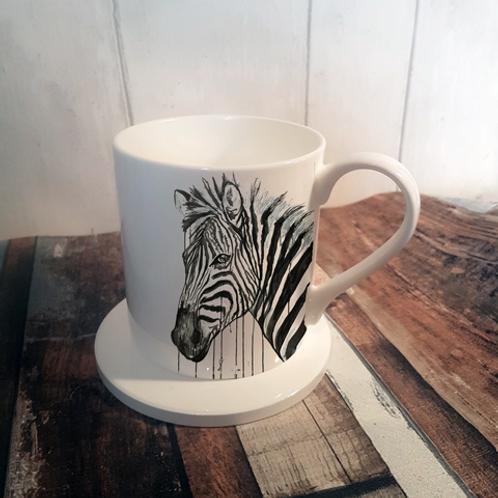 Zebra Bone China Mug & Coaster Set
